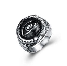 $enCountryForm.capitalKeyWord UK - Men Illuminati Satanic Eye Evil Devil Pyramid Talisman Punk Stainless Steel Ring - Free Shipping + Free Gift