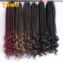 synthetic kanekalon hair braids NZ - 18Inch 22 Strands pack Straight Roots Curly End Crochet Braids Senegalese Twist Ombre Kanekalon Synthetic Crochet Braiding Hair Extensions