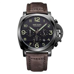 Luminous big man watch online shopping - MEGIR Clock Men Top Brand Luxury Quartz Men Watch Big Dial Chronograph Military Watches Luminous Relogio Masculino Saat