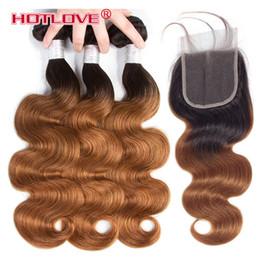 Venta al por mayor de Cabello brasileño de dos tonos Ombre Hair Wave 3 Bundle con cierre de cordones con cabello de bebé T1b / 30 Dark Roots 4Pcs / Lot