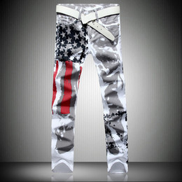 mens printed hip hop jeans Canada - Men Casual American USA Flag Printed Jeans Pants Mens Graffiti Print White Hip-hop Fashion Jean Slim Fit Trousers,8231
