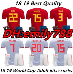 $enCountryForm.capitalKeyWord NZ - 2018 World Cup Spain Soccer Jersey Kit+Socks 2018 Spain Home Red Soccer Jerseys #7 MORATA #22 ISCO Child Soccer Shirts uniforms
