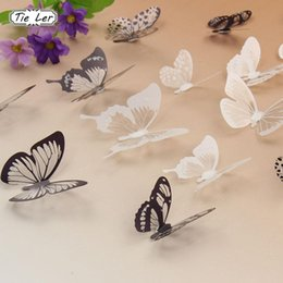 Party Decoration Set Kids NZ - 18PCS set 3D Crystal Butterflies DIY Home Decor Wall Stickers for Kids Room Christmas Party Decoration Decal