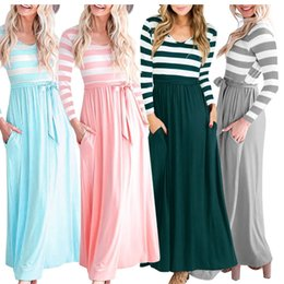 04c7cba51739 Long Sleeve Striped Patchwork Dress 4 Colors Women Autumn Wear O-neck Loose  Beach Maxi Dresses Home Clothing OOA5585