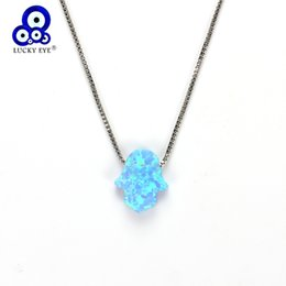 $enCountryForm.capitalKeyWord NZ - Lucky Eye Blue Hamsa Hand Opal Pendant Fatima Hand Necklace Copper Link Chain Choker Necklace Jewelry For Women Girl EY4978