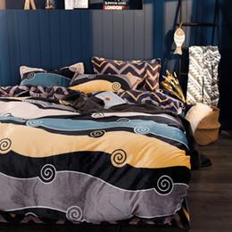 Yellow White Bedding Sets Australia - Grey Yellow and Black Flannel Duvet Cover Set Queen King Size Stripes Bed Sheet Pillow Case Modern Duvet Cover Fleece Bedding