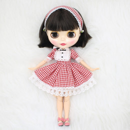 $enCountryForm.capitalKeyWord Canada - ICY factory blyth doll bjd neo 950 short black hair natural skin joint body Red Plaid skirt shoes hairband Toy gift 1 6 30cm