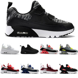 Air Sports Shoes Black Red Canada - New Zoom Air KTINY 90 V2 Running Shoes Slip-On Children Athletic Shoes Boys Girls Training Sneaker Kids Sports Shoes Black White Red