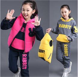 $enCountryForm.capitalKeyWord NZ - 2018 Children Tracksuits 4-12y Pullover Hoodie Rabbit Kids Sport Suits Three-piece Set Winter Girls Clothing Sets Kids Teens Clothes