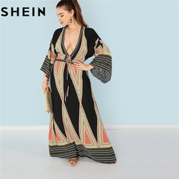 0a668e12c5 SHEIN Bohemian Deep V Neck Sexy Plus Size Women Maxi Dresses Geometric  Plunging Neck Butterfly Sleeve Beach Vacation Long Dress