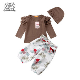 Floral Print Shirts Baby Australia - Print wild trend Tollder Kid Baby Clothing Cute Newborn Girl Fly Sleeve Tops T-shirt+Floral Pants 3Pcs Outfits Clothes lovely