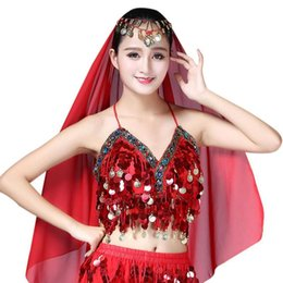 75b97244991019 2018 Women Sexy Sequin Halter Bra Top Salsa Belly Dance Festival Club  Tribal Beading Coins Tassel Lace Cami Top Belly Dancing