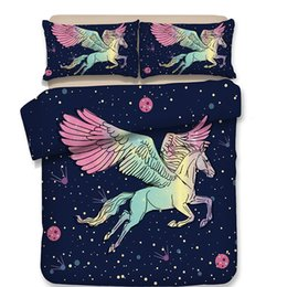 $enCountryForm.capitalKeyWord UK - Free shipping! New cartoon aniaml pegasus horse unicorn bedding without the filler 3 4pcs home textile twin full queen size