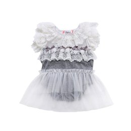 2d65dbbe1efe Lace Newborn Baby Girl Dress Romper Sleeveless Triangle Gray Ruffle Tulle  Jumpsuit Toddler Flower Playsuit Sunsuit Outfit Clothe