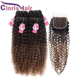 kinky curly closure ombre 2019 - Raw Indian Malaysian Virgin Kinky Curly Weaves Closure 1B 4 30 Blonde Human Hair Bundles With Lace Closure Afro Kinky Om