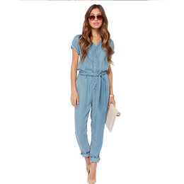 07b87aaf6d5 2017 Autumn Fashion V-Neck Denim Overalls Women Jumpsuit Sexy Bodysuit Rompers  Short Sleeve Womens Jeans long Female LF1016