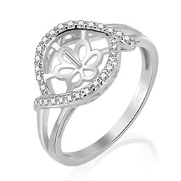 Chinese  Pearl Ring Mounting Shiny Zirons 925 Serling Silver Ring Accessory Ring Setting For Oyster Pearl manufacturers