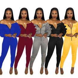 ac98970edad New Design Ruffles Long Sleeves Women Jumpsuits 2019 Hot 5 Colors S-3XL  Slash neck Zipper Long Rompers Party Club Jumpsuits Real Pictures