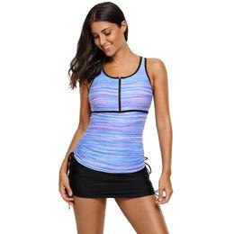 Mesh Two Piece Swimsuit Canada - Two Piece Swimsuit For Women Stripe Mesh Racherback Tankini Top And Lace -Up Bikini Bottoms Swimwear Lc410455 Biquinis