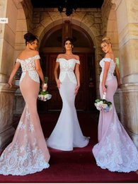 Discount navy wedding dresses - 2018 New Arrival Elegant Lace Mermaid Bridesmaid Dresses Off Shoulder Applique Long Floor Length Wedding Guest Gowns Mai