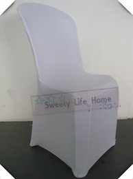 White Spandex For Chairs NZ - 50pcs White spandex chair covers Plastic spandex chair cover seats for party decorations White Strech Wedding chair covers