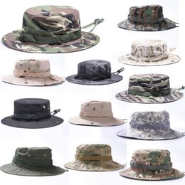 Plain Camp Hat NZ - 17 Styles Camouflage Round Hat Military Tactical Outdoor Cap For Camping Fishing Fisherman Hat Support FBA Drop Shipping G702F