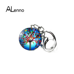 new style side bags 2019 - Bohemia Style Doblue-sided Glass Tree Keychain For Keys 2018 New Design Metal Plant Aroma Keychains On A Bag Charms Jewe