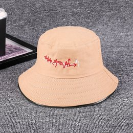 3fa393f51d0e41 Fisherman hat men and women Japanese embroidery leisure wild art hat spring  and summer Korean holiday Bucket hats basin caps