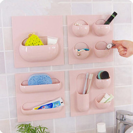 Wall Mount Storage Organizer Canada - 4 Styles Wall Suction Cup Kitchen Bathroom Storage Rack Can Use Repeatedly Bathroom Organizer Storage Shelf