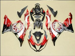 Red White Kawasaki NZ - Three free beautiful gift new ABS Injection fairing plates for Kawasaki Ninja ZX6R 599 636 2013-2016 bodywork set Black Red White O69