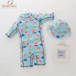 7517077c0e02 Nyan Cat summer baby boy swimwear+hat 2pcs set fishes sea world swimming  suit infant toddler kids children spa beach bathing