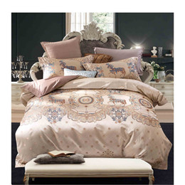 $enCountryForm.capitalKeyWord Canada - Cotton Pink Bule Printed Luxury Oriental Bedding set King Queen size Bed set Duvet cover Bedsheet Pillowcases 2018 new Fashion