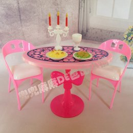 Toy Furniture Wholesale NZ - Hot Sale Doll House Miniature Furniture Dining Table Sets For doll Graceful Stylish Retro Girl Kid Child Toys