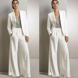 Wholesale 2019 New Modest Bling Sequins Pants Suits Mother Of The Bride Dresses Formal Chiffon Tuxedos Women Party Wear