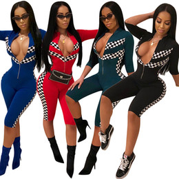 65255754bf Women Jumpsuits Fashion sexy deep V zipper Bodywear playsuit Overalls  casual racing suit ladies Lattice printing bodycon Romper