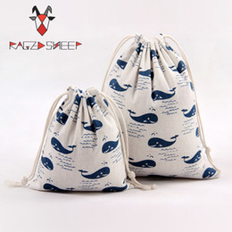 $enCountryForm.capitalKeyWord Canada - Raged Sheep Fashion Drawstring Cotton Grocery Shopping Bags Folding Shopping Cart Eco Whale Printed Reusable Bag
