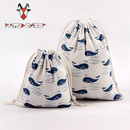Cotton Cart NZ - Raged Sheep Fashion Drawstring Cotton Grocery Shopping Bags Folding Shopping Cart Eco Whale Printed Reusable Bag