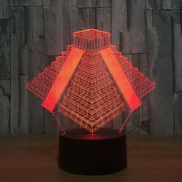 Christmas Tables Canada - Unique Pyramid 3D USB Led night light 7 Colors Changing Christmas Mood Child Kids living bedroom table desk Lamp Wholesale Dropshipping