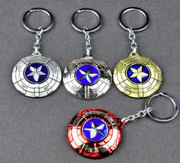 Shield Ball NZ - Swivel captain America shield car shield shape key chain key chain man's favorite metal avengers key chain pendant