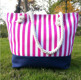 Stripe canvaS tote beach bagS online shopping - Colorful Stripes Beach Bags Women Canvas Large Capacity Totes Shopping bags outdoor summer Handbags Totes KKA4157