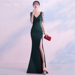 e55e6668835 Diamonds V-Neck 2018 New Women s Elegant Long Gown Party Prom For Gratuating  Date Ceremony Gala Evening Dresses A18