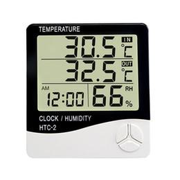 Higrómetro digital Termómetro Pantalla LCD Monitor de temperatura y humedad Estación meteorológica exterior para interiores con reloj despertador HTC-2 en venta