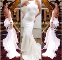$enCountryForm.capitalKeyWord NZ - New Mermaid 2019 Michael Costello Sexy Evening Gown Halter Backless Chapel Train Ruffles Prom Dress White Chiffon Evening Dresses
