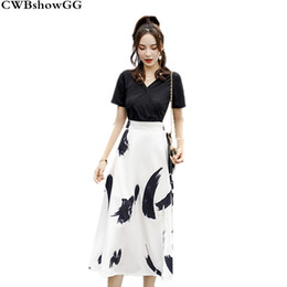 b0e191ccb2fbd 2018 summer new arrival women two-piece Korean version of the thin V-neck  chiffon fashion sweet casual black and white sets