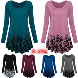Chinese  Womens's fashion floral printed tunic tops long sleeve A line blouse lady leaf printed long T-shirt plus size manufacturers