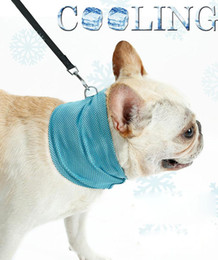 Small Coolers Wholesale NZ - Ice Cooling Towel Bandana For Pet Dog Cat Scarf Summer Breathable Cooling Towel Wrap Blue Bows Accessories In Retail Bag Pack