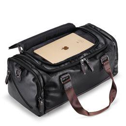 2018 New Arrival Leather Travel Bags for Men Large Capacity Portable Male Shoulder  Bags Men s Handbags Casual Travel Duffle cc2d25a4d539e