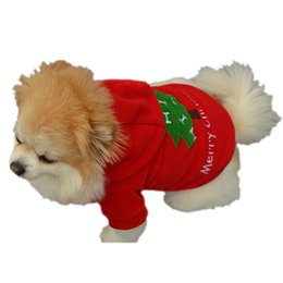 Wholesale winte jacket resale online - New Qualified Christmas Pet Puppy Dog Clothes Santa Claus Costume Outwear Thick Coat Apparel Hoodie jackets winte