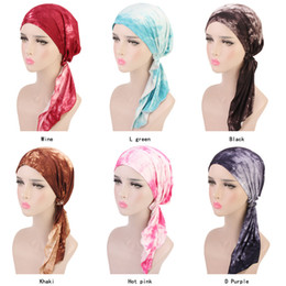 $enCountryForm.capitalKeyWord Canada - Muslim Women Cotton Pre-Tied headscar Turban Hat Headwear headwrap Plated Chemo Beanies Cap Skull Hair Loss Protector Accessories