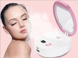 $enCountryForm.capitalKeyWord Australia - Portable Make Up LED Mirror Nano Cool Mist Spray Mineral Water Meter Facial Humidifier Face Steamer Mini Power Bank Beauty Instrument